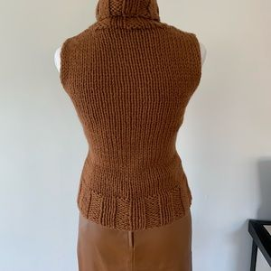 Hand knit BCBG sleeveless turtleneck. Cognac